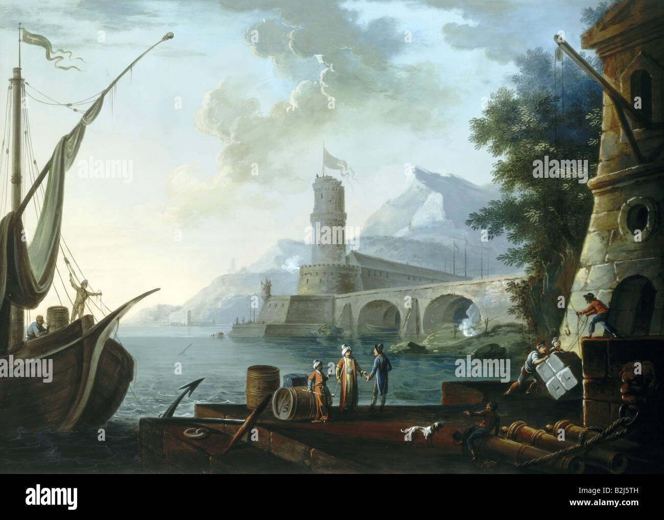 """Geografia / viaggi, Francia, Tolone, Porto, Vista, gouache dopo la verniciatura di Claude Joseph Vernet, serie """"Porti Immagini Stock"""