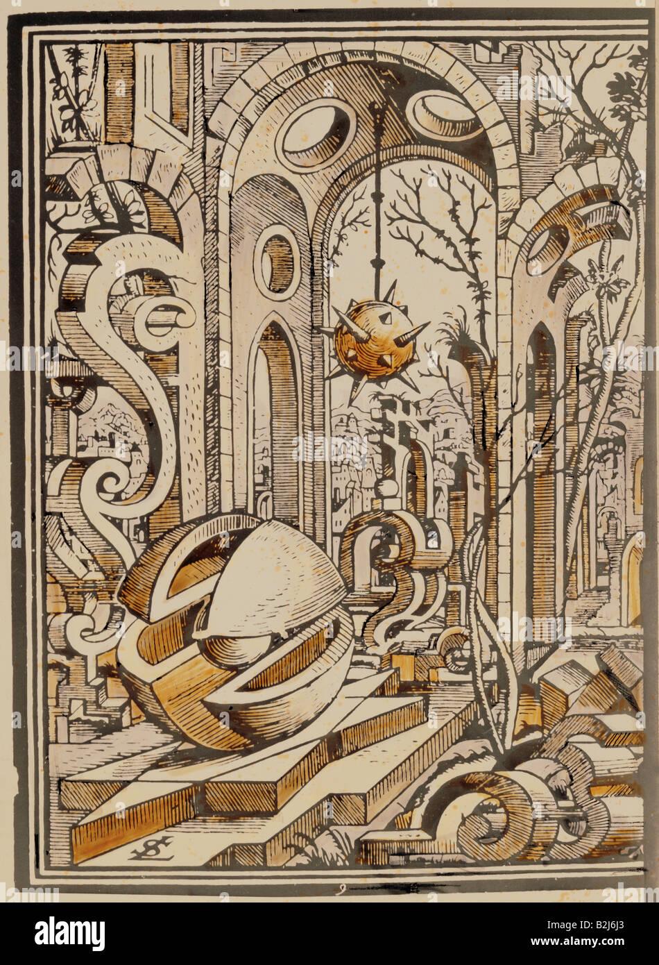 La scienza, geometria, paesaggio geometrico, incisione su rame, 'Geometria et Perspectiva' da Lorenz Stoer, Immagini Stock
