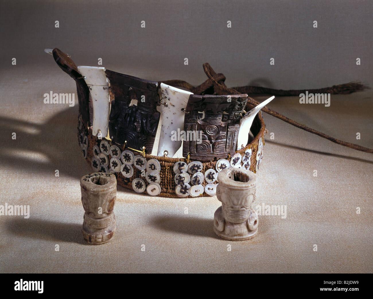 Belle arti, Oceania Isole Marchesi, scultura, corona, guscio di tartaruga, Linden Museum di Stoccarda, Tiki, guscio Immagini Stock