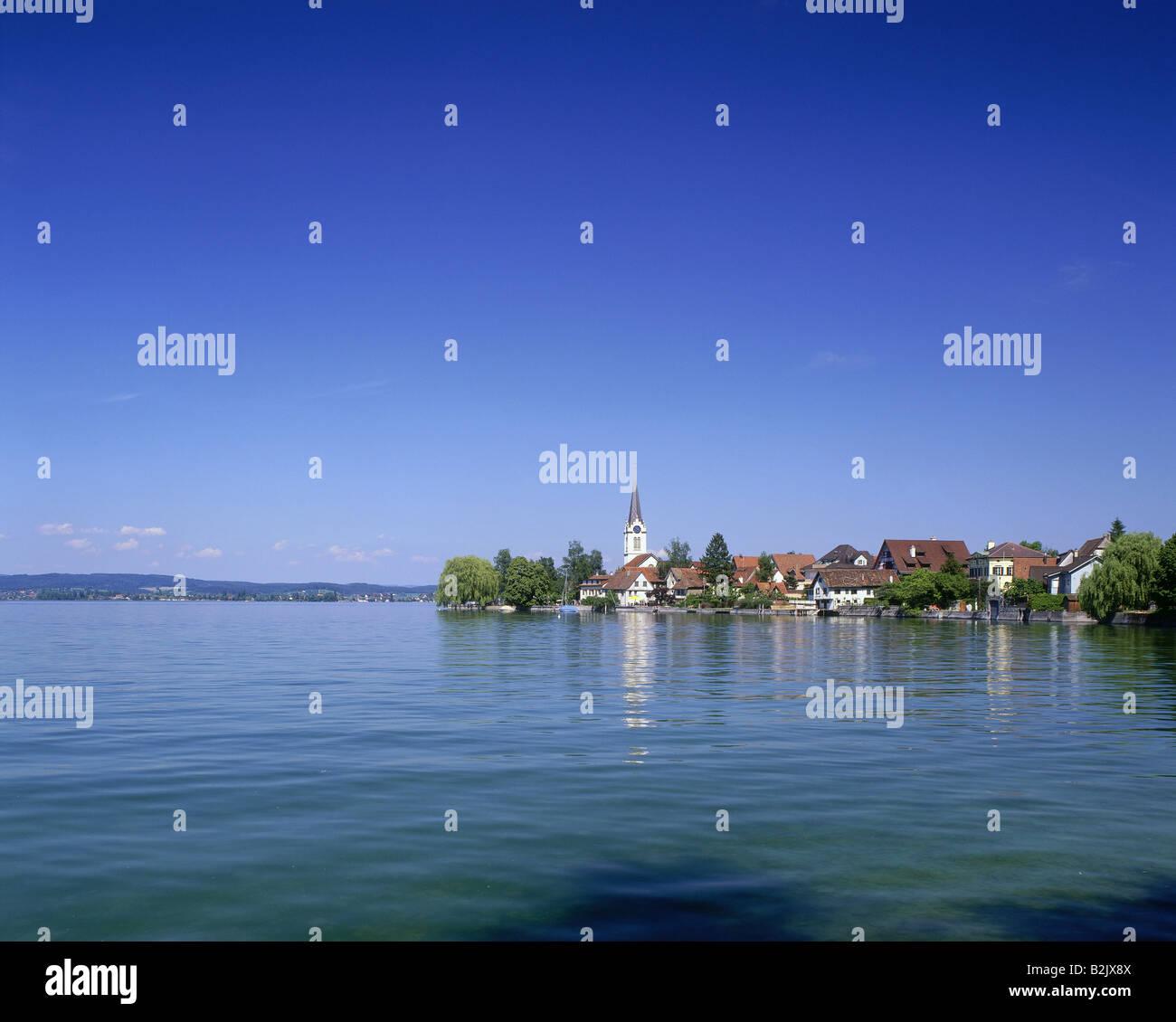 Geografia / viaggi, Svizzera, paesaggi, il lago di Costanza, vista verso Berlingen, Additional-Rights-Clearance Immagini Stock