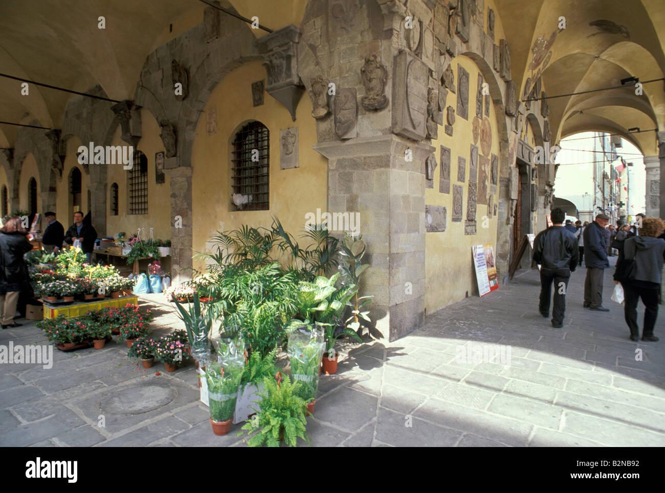 Palazzo pretorio archi, San Giovanni Valdarno, Italia Foto Stock