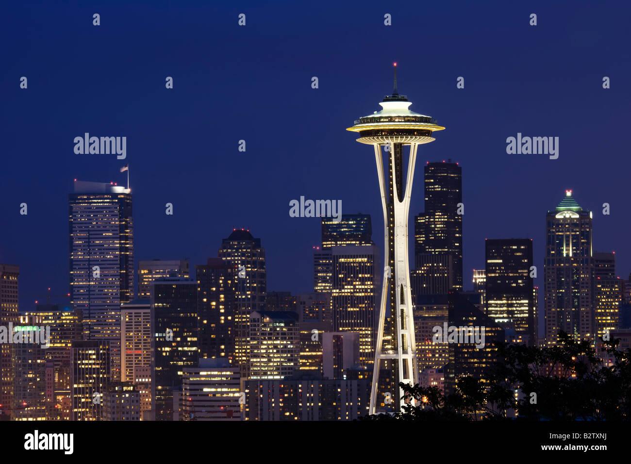 Il famoso Space Needle come vista da Kerry Park in Seattle Washington Immagini Stock