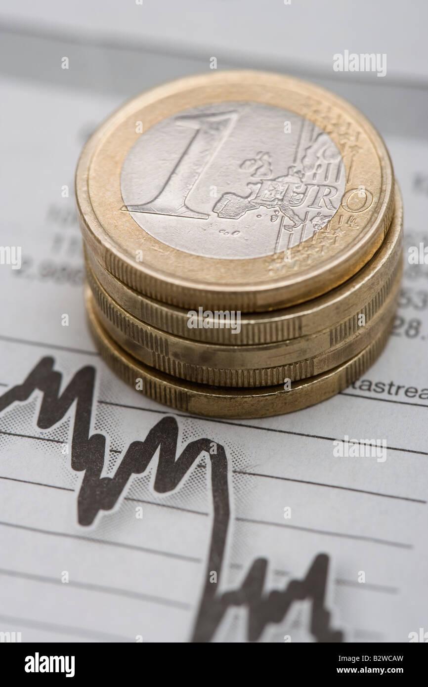 Euro sul grafico Immagini Stock