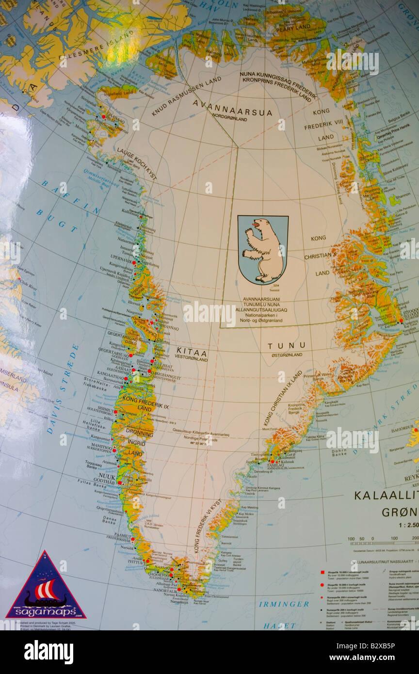 Cartina Geografica Della Groenlandia.Una Mappa Della Groenlandia Foto Stock Alamy