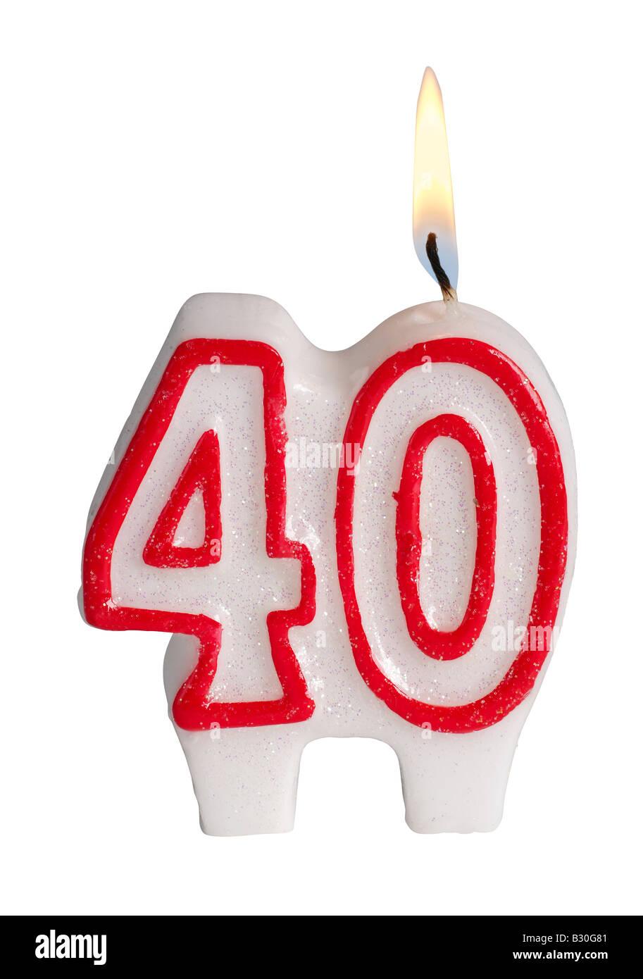Numero 40 candela Foto Stock