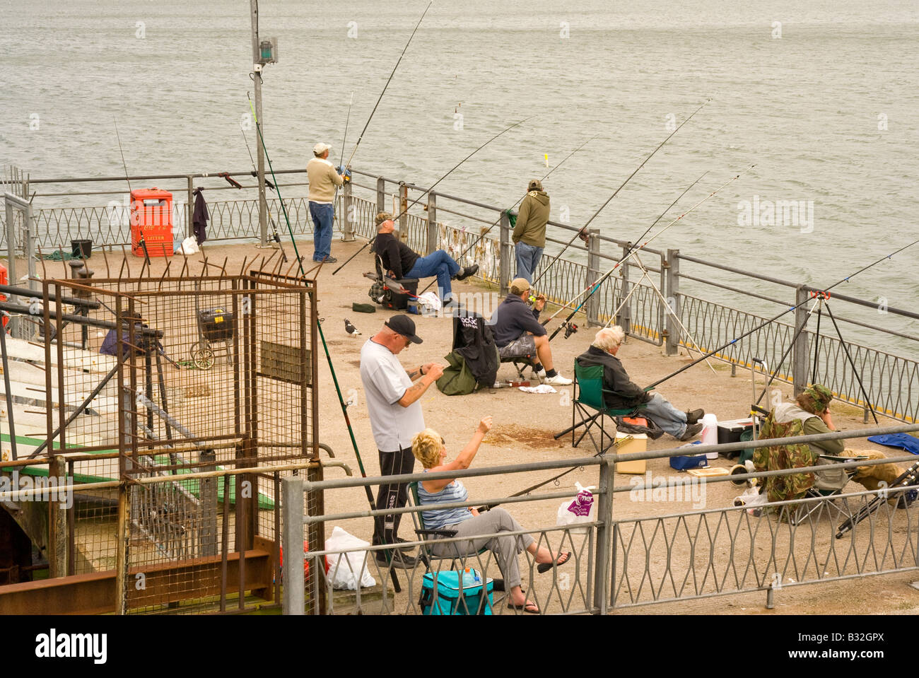 Pesca sportiva off Llandudno Pier Immagini Stock