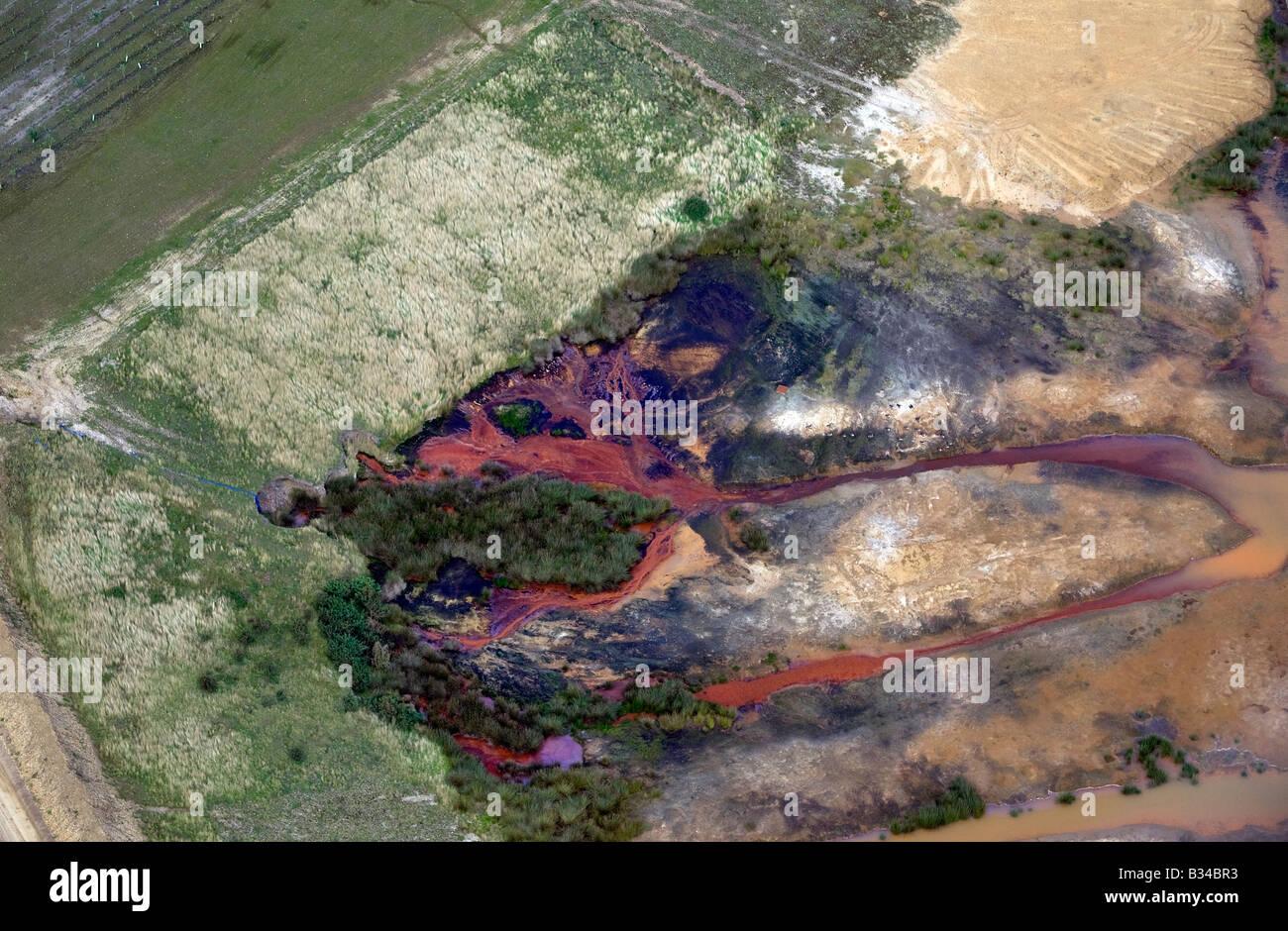 Vista aerea della terra inquinamento in Norfolk, Inghilterra Immagini Stock