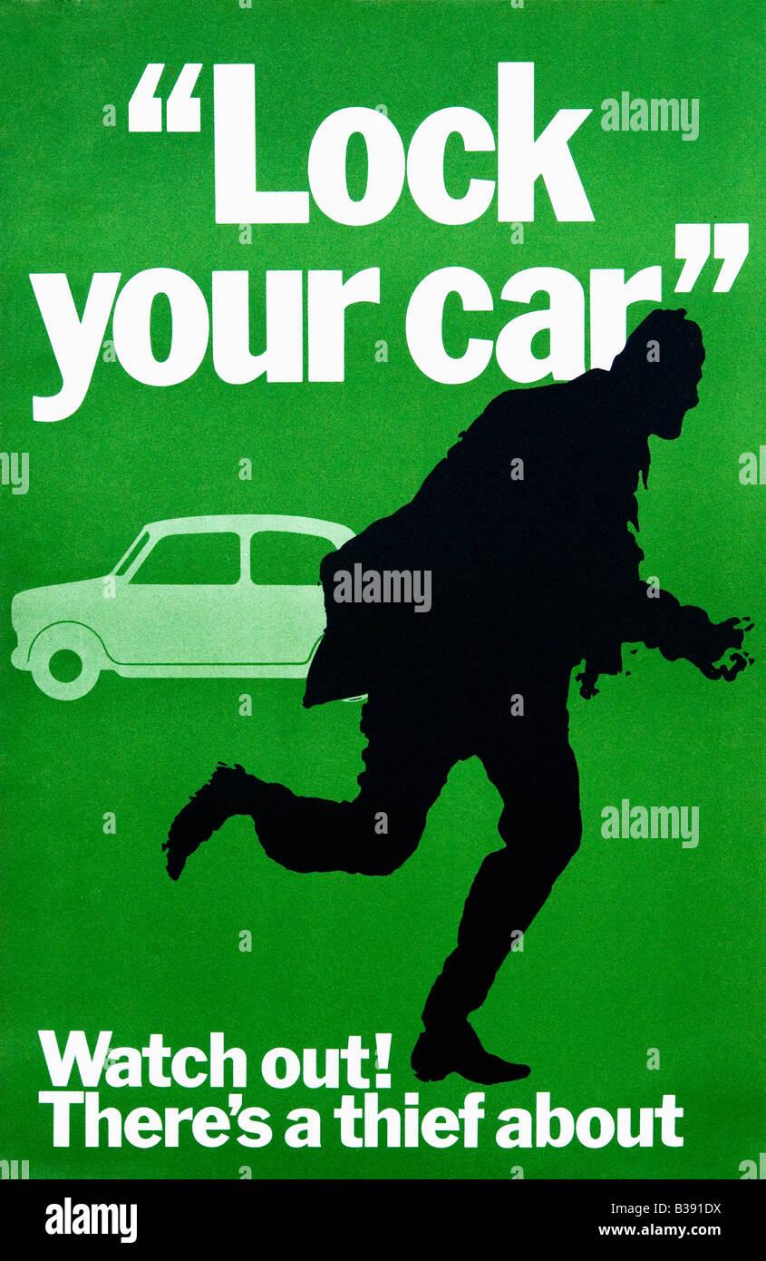 Guardare fuori c'è un ladro circa originale di prevenzione della criminalità Poster 1968 Ufficio centrale Immagini Stock