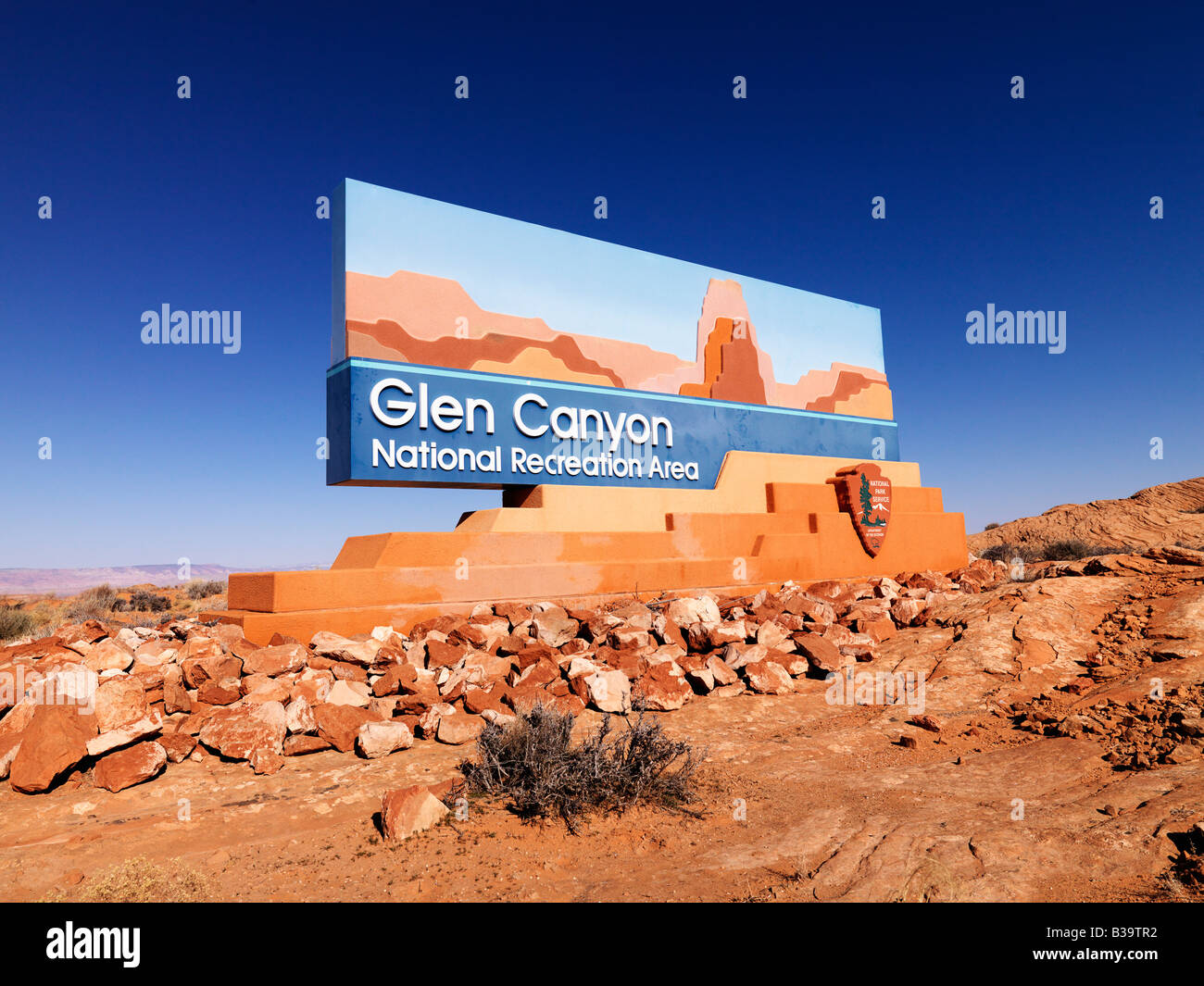 Paesaggio di Glen Canyon National Recreation ingresso sign in Arizona Stati Uniti Immagini Stock