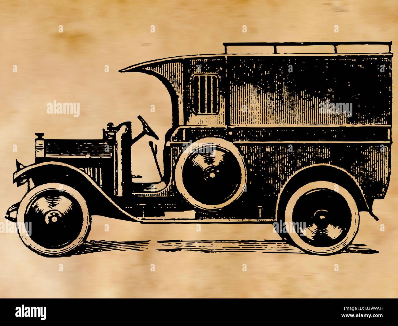 Illustrazione di un'auto d'Epoca Immagini Stock