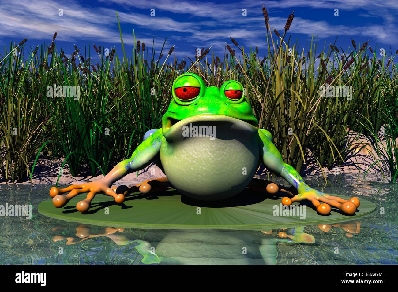 Cartoon illustrazione di una rana seduta in stagno foto immagine