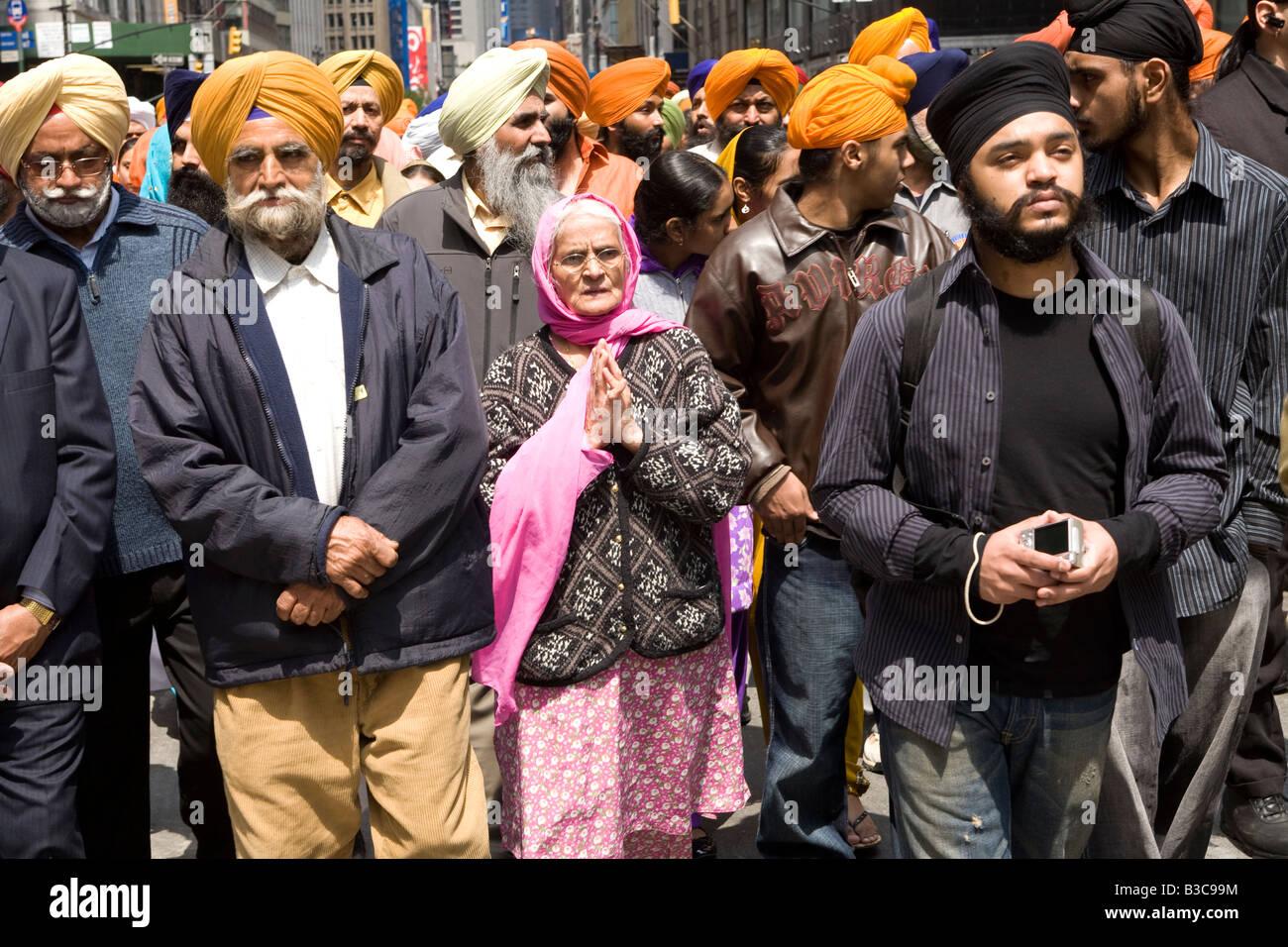Annuale parata Sikh e festival che ha luogo ogni anno su Broadway a New York City Immagini Stock