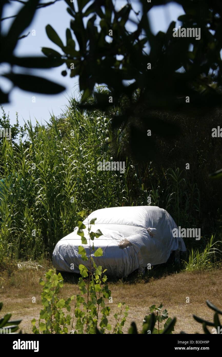 Vecchia auto con copertura in campo in campagna Immagini Stock
