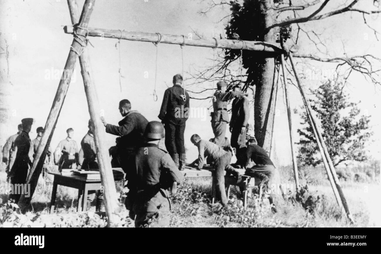 Esecuzione di partigiani, Russia / 1942 Immagini Stock