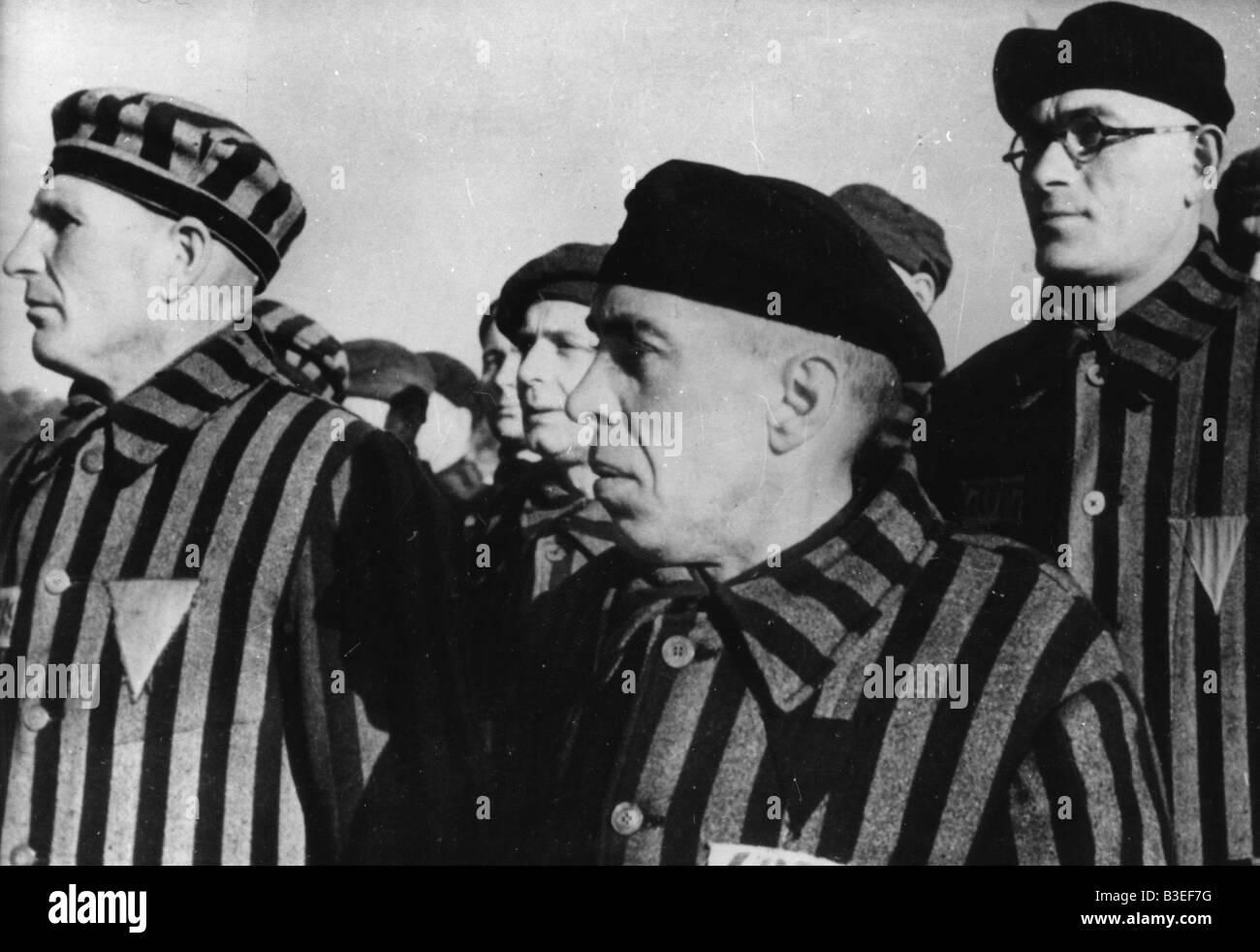 Prigionieri di Sachsenhausen / c.1940 Immagini Stock