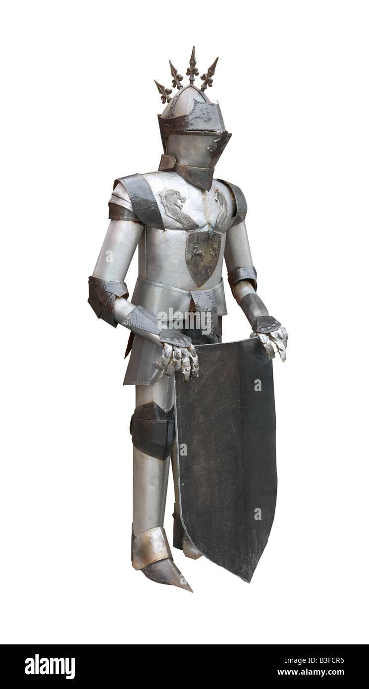 Vero cavaliere medievale armor isolati su sfondo bianco Immagini Stock