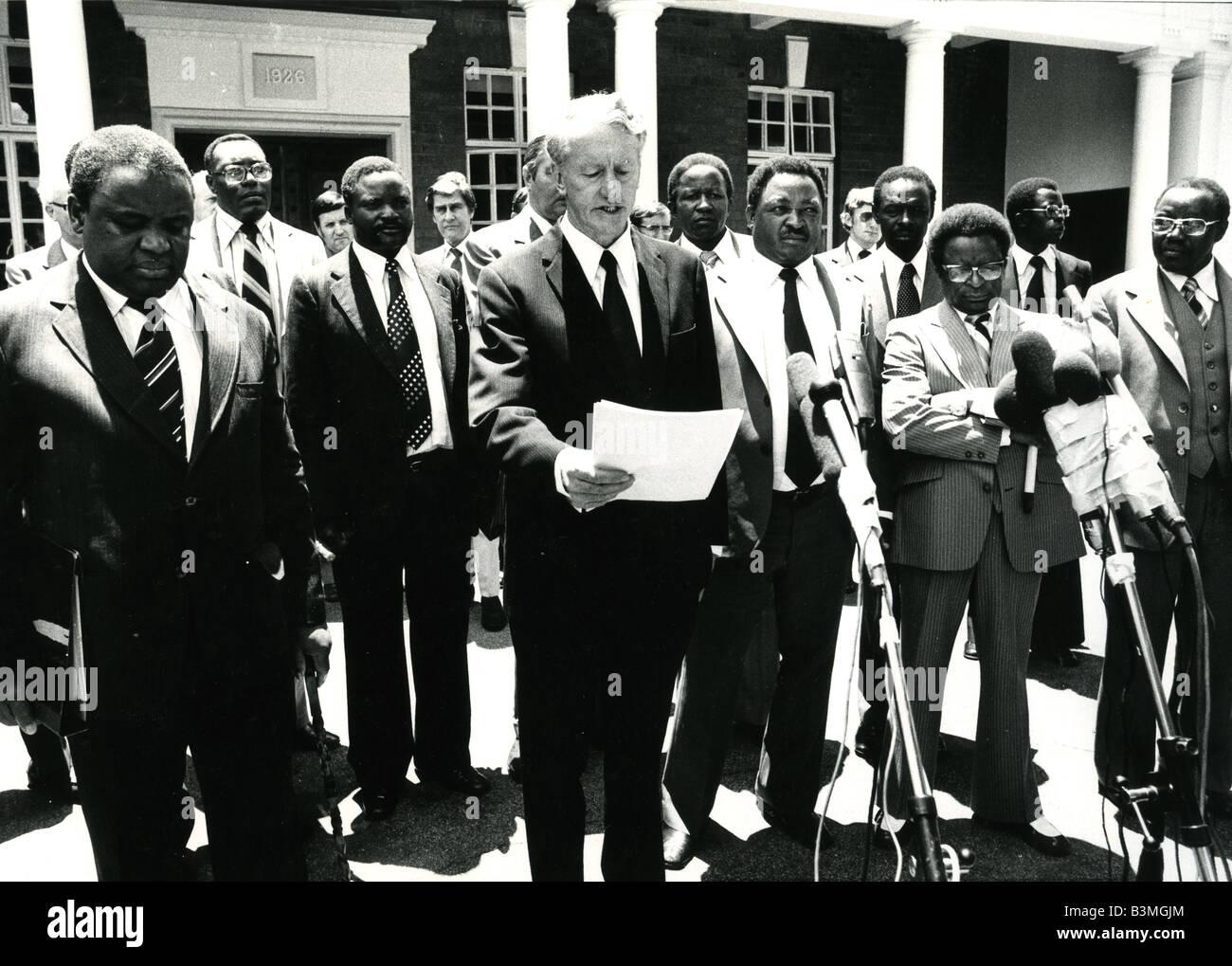 IAN SMITH annuncia una soluzione interna per la Rodesia del Sud nel 1979 Immagini Stock
