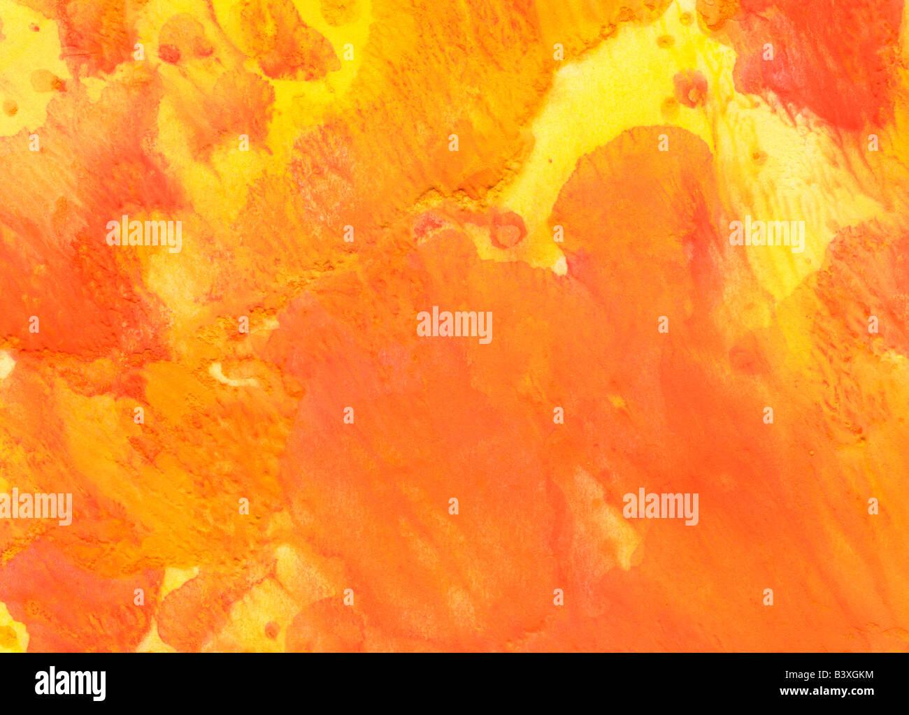 Giallo arancione acquerello sfondo di lavaggio Immagini Stock
