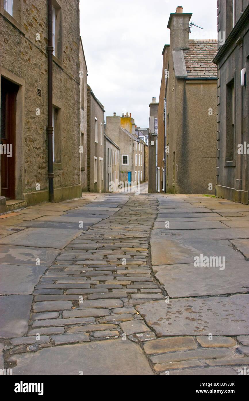 Le strette strade di Stromness, Orkney Isle, Scotland Regno Unito 2008 Foto Stock