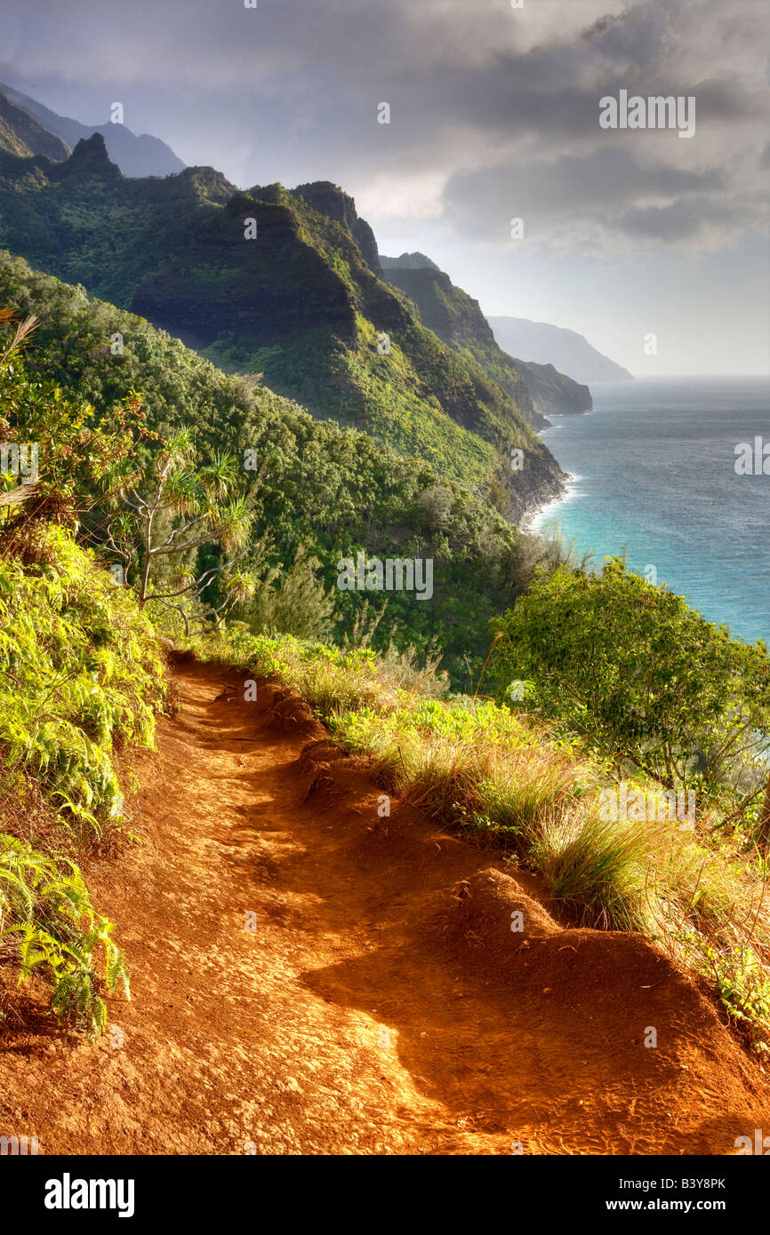 Napali Coast Trail al tramonto Kauai Hawaii Immagini Stock