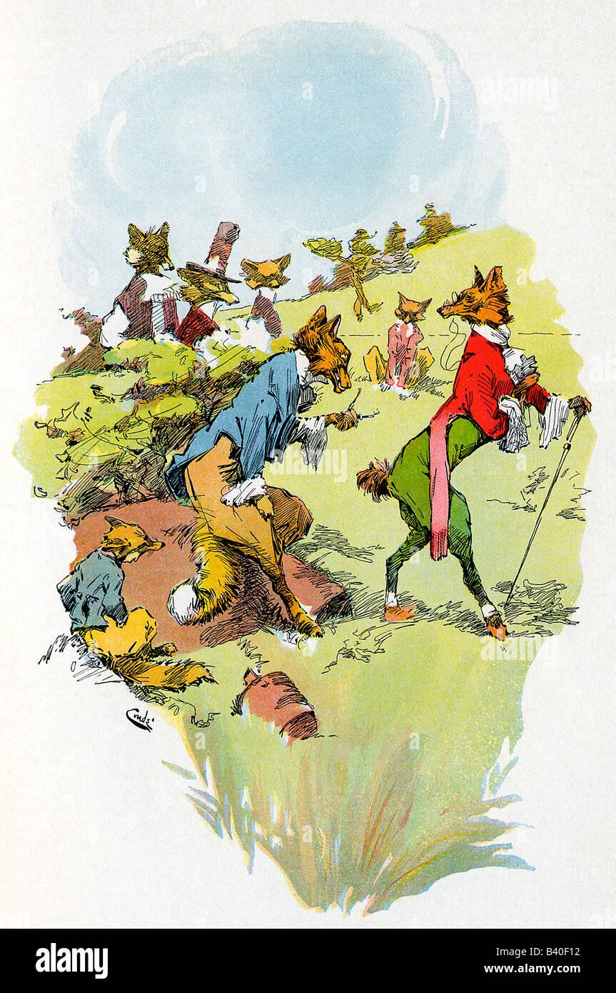 Racconto di Esopo della volpe che ha perso la sua coda Immagini Stock