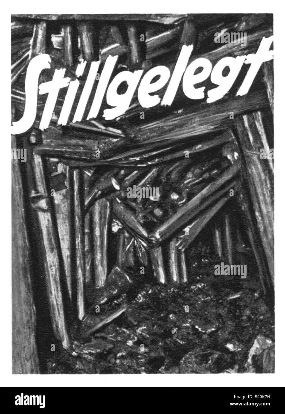 Eventi, Grande Depressione 1929 - 1932, poster di una miniera chiusa, Germania, circa 1930, Additional-Rights-giochi Immagini Stock
