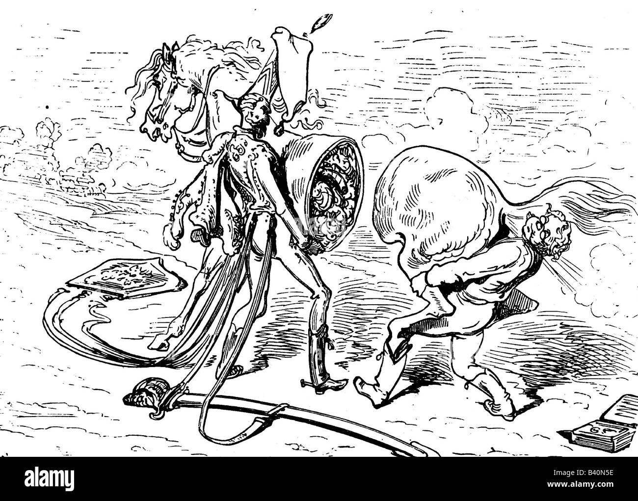 Münchhausen, Barone Karl Friedrich Hieronymus, Freiherr von, 11.5.1720 - 22.2.1797, scena delle sue avventure: Riparazione cavallo, incisione in legno 19th secolo, Foto Stock