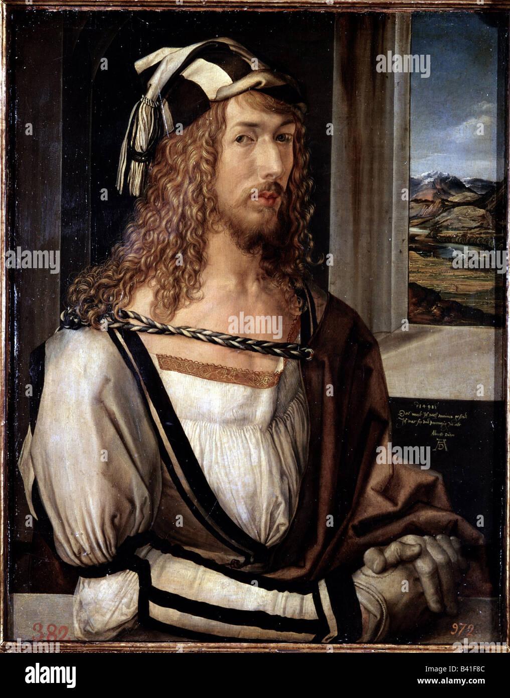 "Belle arti -, Dürer Albrecht (1471 - 1528), la pittura ""elbstbildnis mit Landschaft', autoritratto, Immagini Stock"