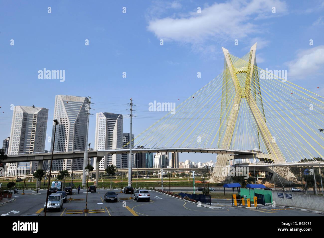 Octavio Frias sospensione ponte Sao Paulo in Brasile Immagini Stock