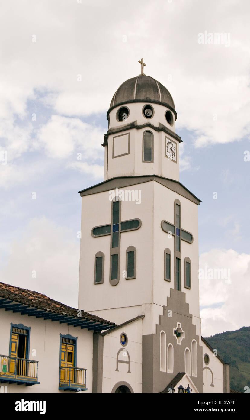 Chiesa della città del Salento Quindio, Colombia Immagini Stock