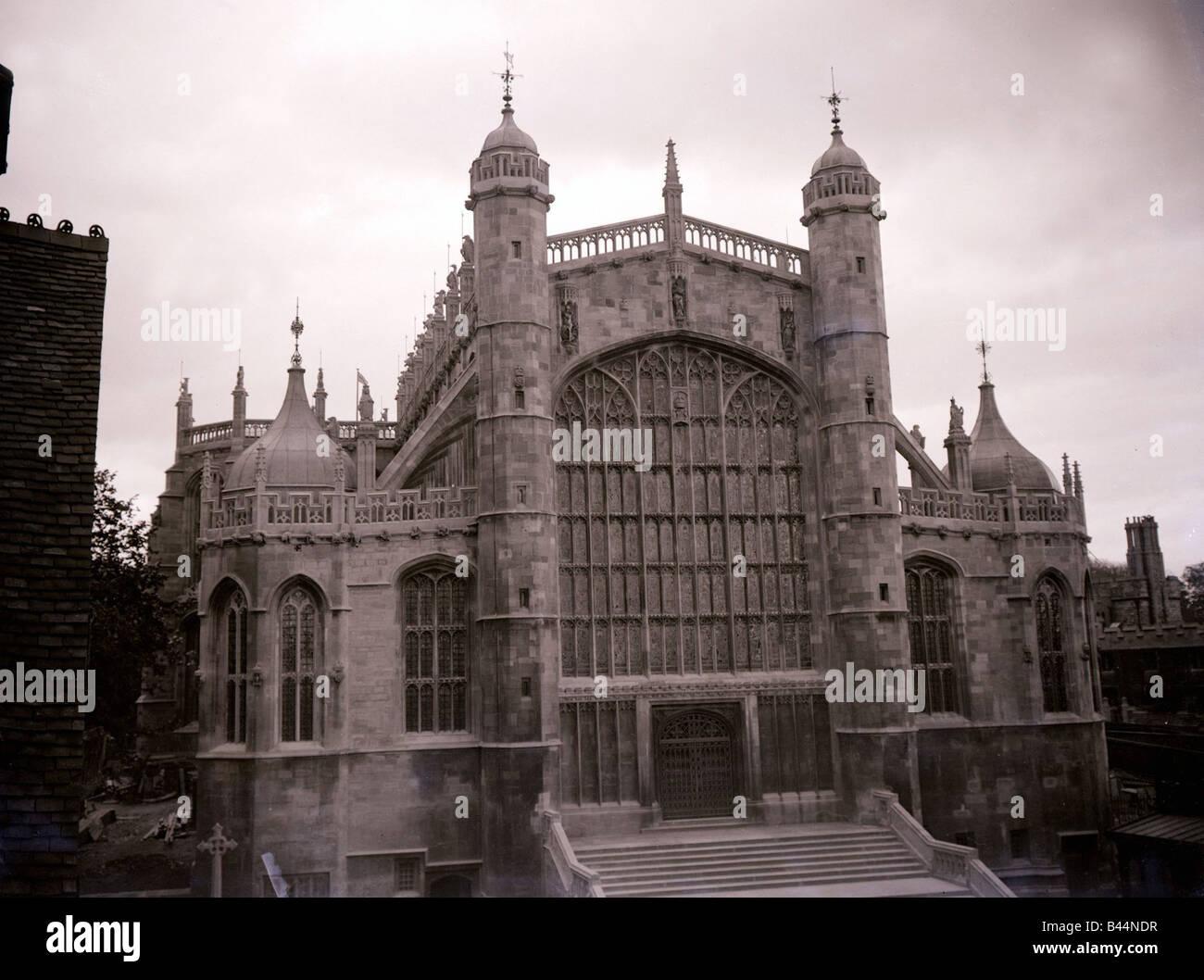 St Cappella GeorgeÛs Windsor esterno della chiesa edificio vetrata banchi architettura castello gotico di vecchi Immagini Stock