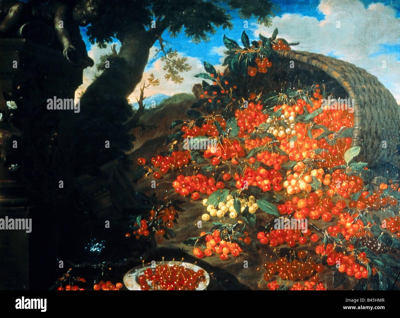 """Belle arti, bimbi, Bartolomeo (1648 - 1730), 'diverse varieta di ciliegie"""", pittura, olio su tela, Poggio Immagini Stock"""