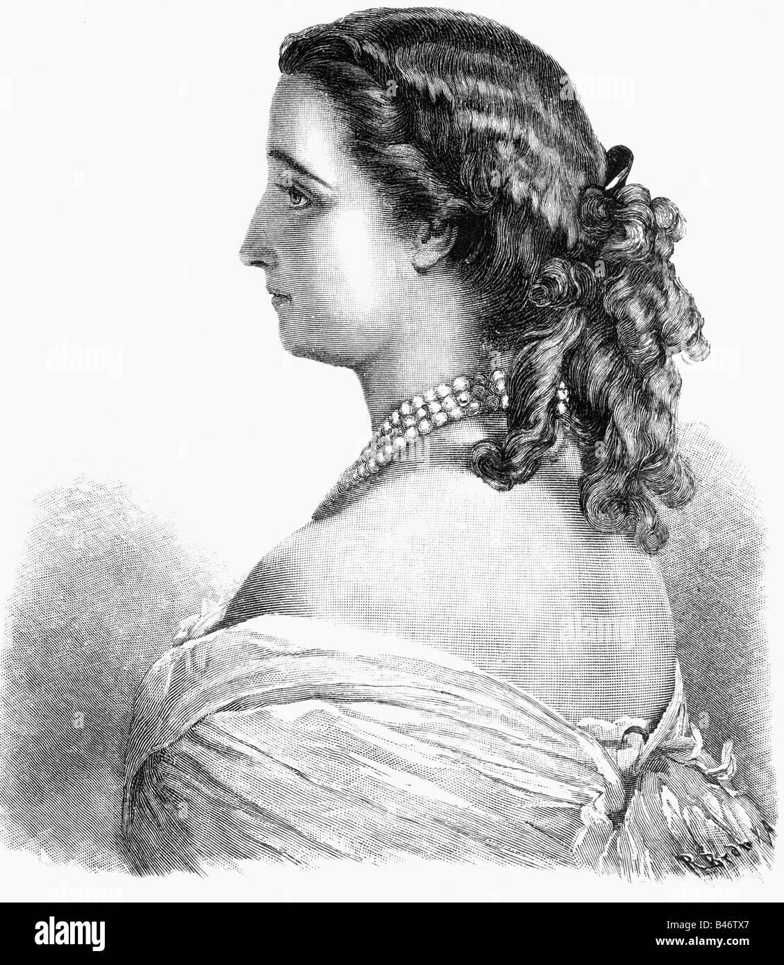 Eugenie, 5.5.1826 - 11.7.1920, Imperatrice consorte di Francia 30.1.1853 - 4.9.1870, a mezza lunghezza e incisione Foto Stock