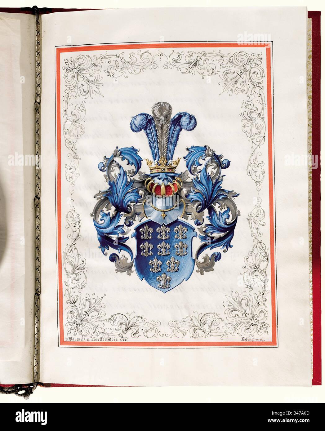 Un brevetto di nobiltà per grandi von Beaulieu, il Kaiser Guglielmo II, concessa il 18 settembre 1898 pergamena Immagini Stock