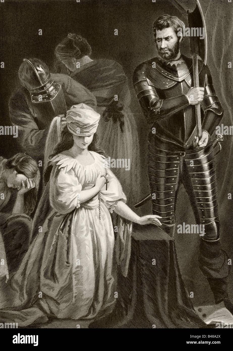 Esecuzione di Maria Regina di Scozia, 8 febbraio 1587 Immagini Stock