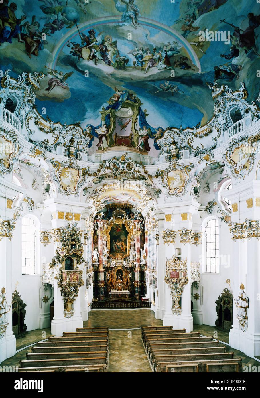 Architettura, chiese e conventi, in Germania, in Baviera, la Chiesa del pellegrinaggio di Wies, costruito 1745  Immagini Stock