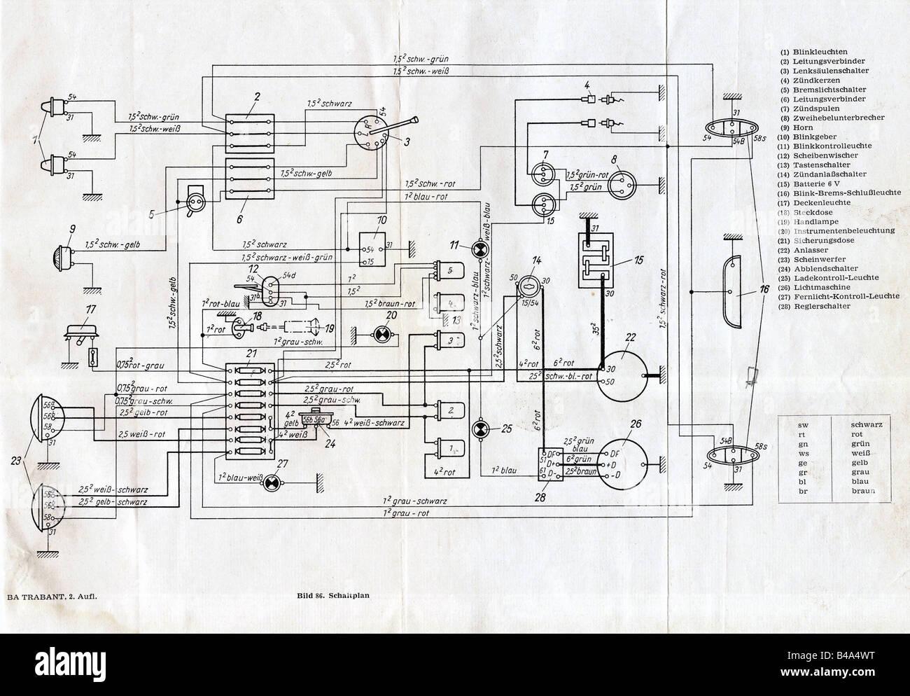 Trasporto/ trasporto, automobili, Germania, Trabant 601,Schema, manuale di istruzioni, VEB Sachsenring Automobilwerke Immagini Stock