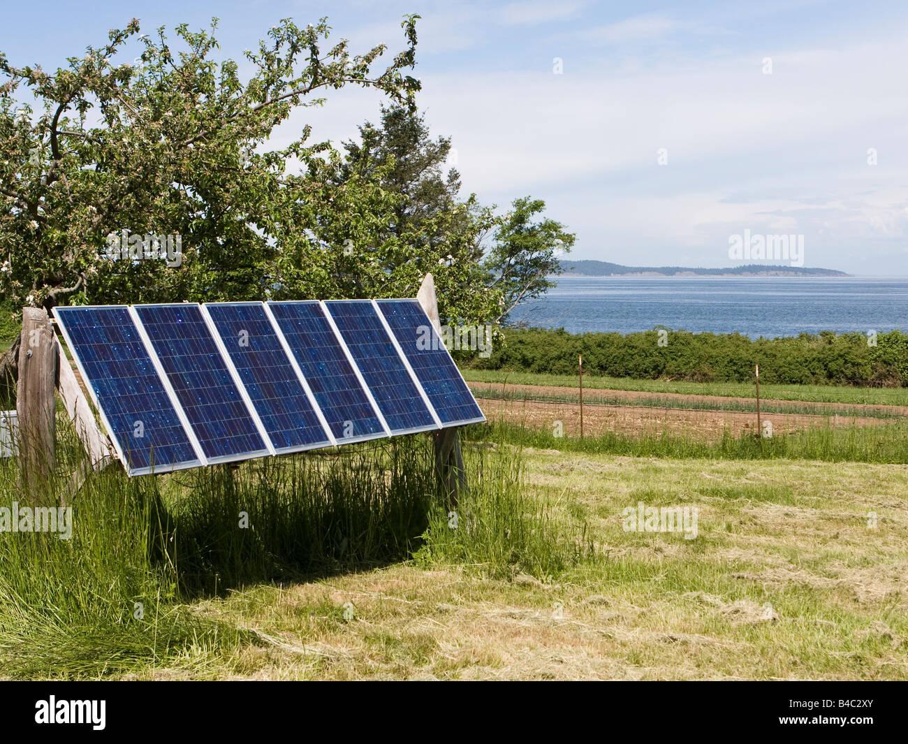 Un insieme di pannelli solari si trova su un isola di fornire una fonte di energia rinnovabile. Immagini Stock
