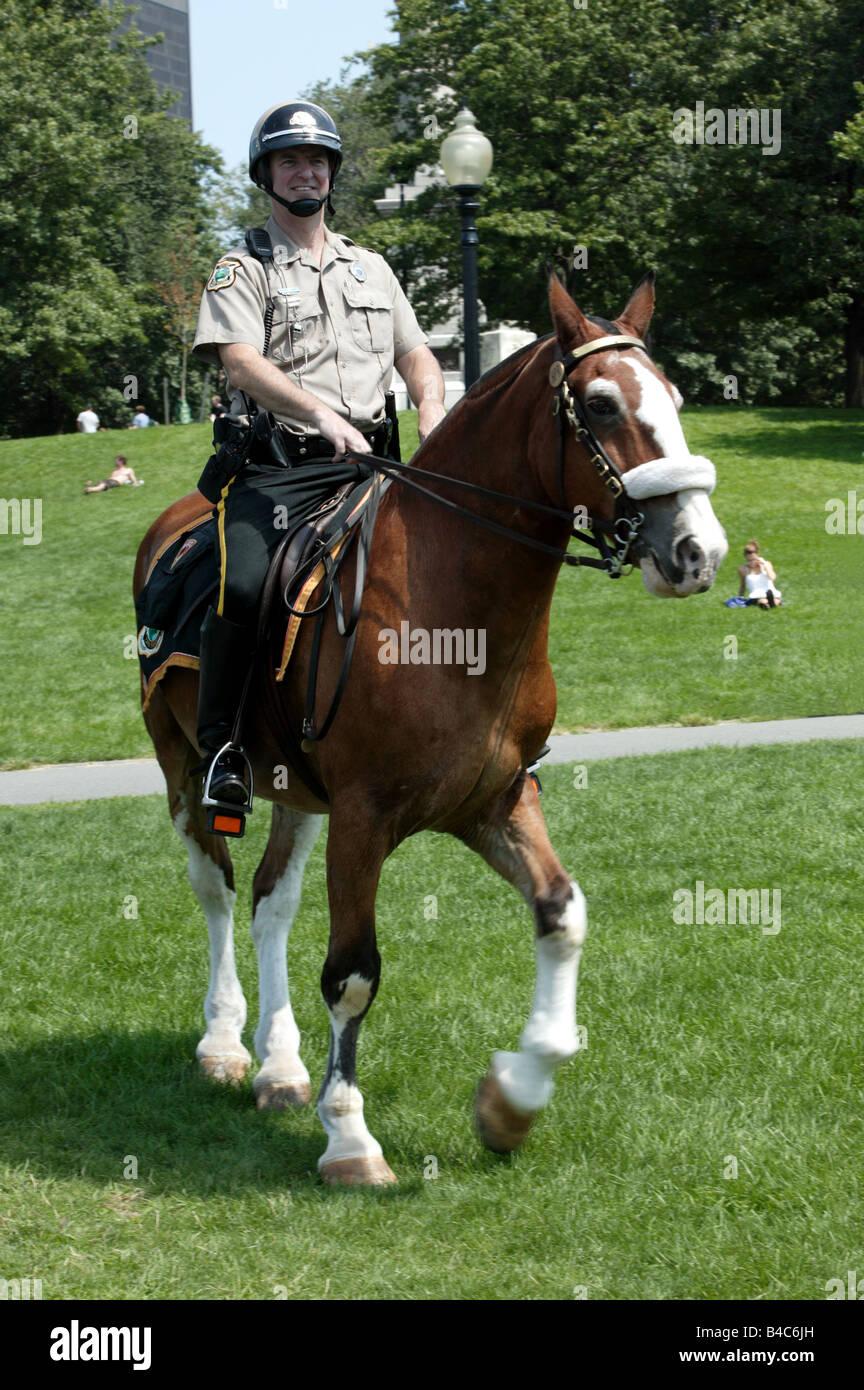 Boston Ranger del Parco sul dazio in Boston Common Immagini Stock