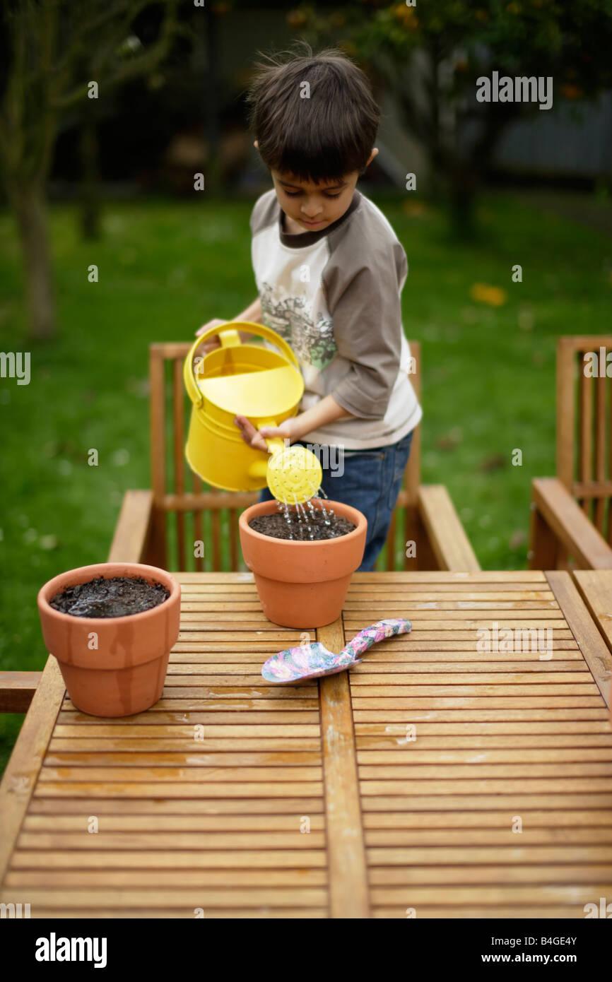 Ragazzo semi di piante in vasi di fiori e acque di loro Immagini Stock