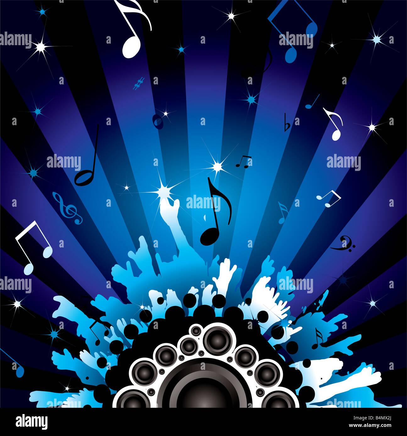 Background moderno con un tema da discoteca con altoparlanti Immagini Stock