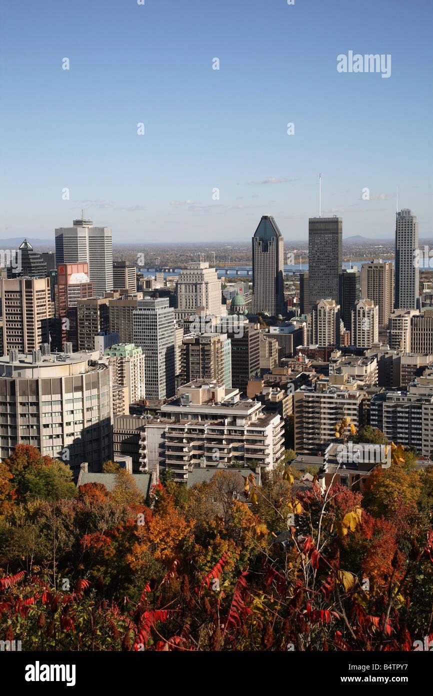 Canada Quebec Montreal skyline di fogliame di autunno Immagini Stock