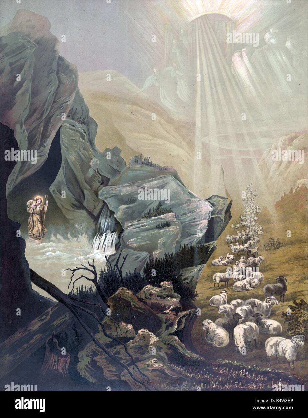 La pecorella smarrita, l'arte religiosa Immagini Stock