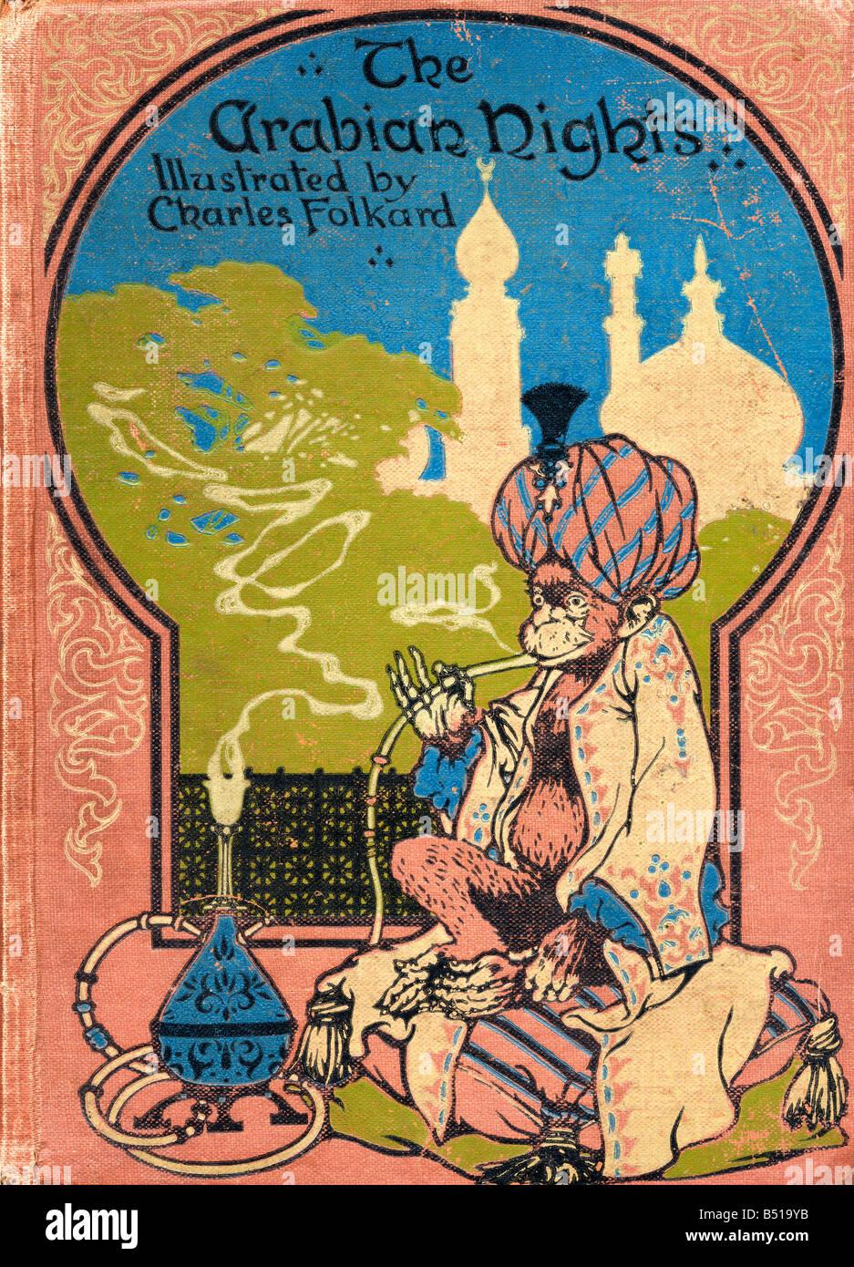 Coperchio anteriore illustrazione di Charles Folkard dal libro Arabian Nights pubblicato 1917 Immagini Stock