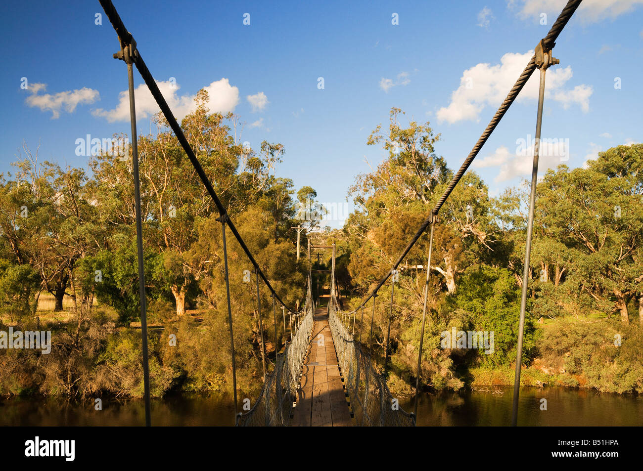 Ponte di sospensione, Fiume Avon, York, Australia occidentale, Australia Foto Stock