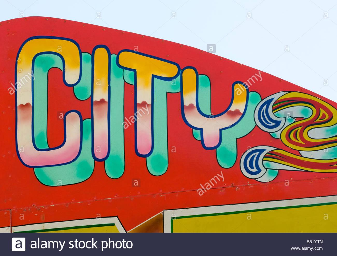 Segno della città fiera del divertimento stile design tipografia Immagini Stock