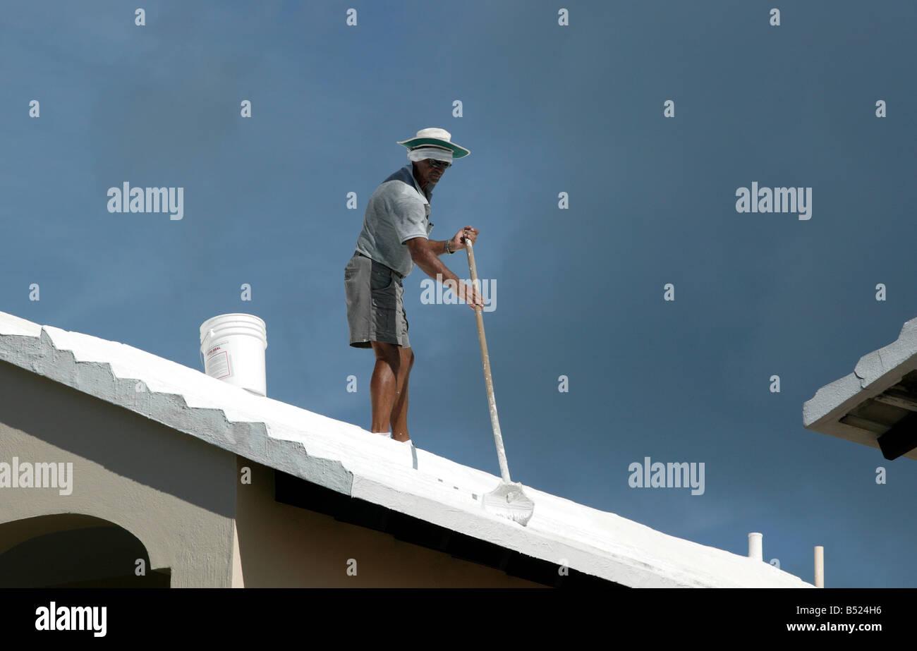Close-up shot di Bermudan uomo Limewashing un tetto Immagini Stock