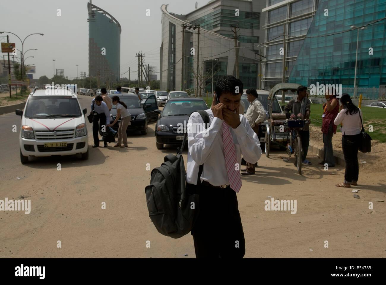 Commerciante indiano in Gurgaon, New Delhi CBD, India Immagini Stock