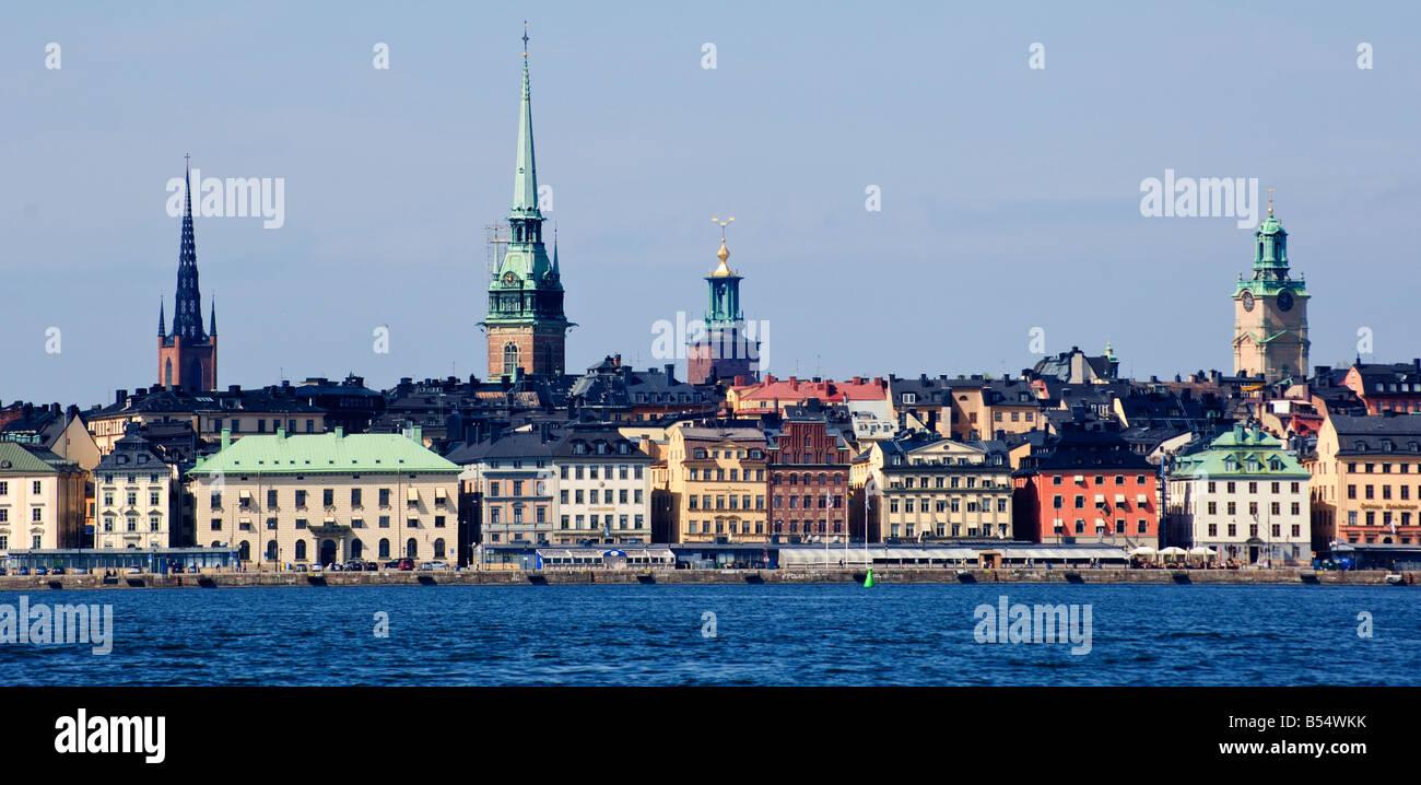 Vista di Gamla Stan la città vecchia di Stoccolma Svezia Immagini Stock