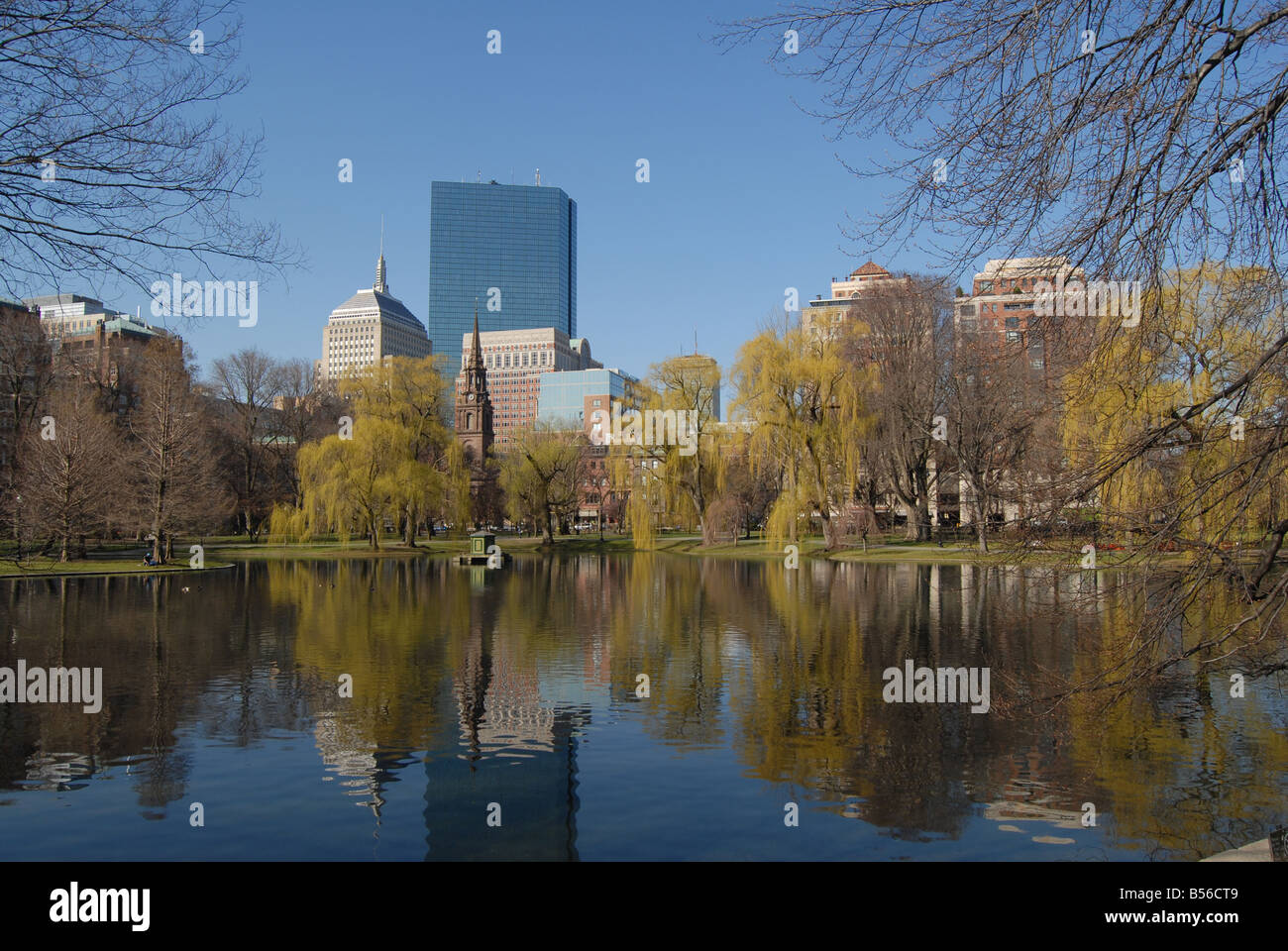 Vista di edifici da Boston Common , boston , Stati Uniti , America del Nord Immagini Stock